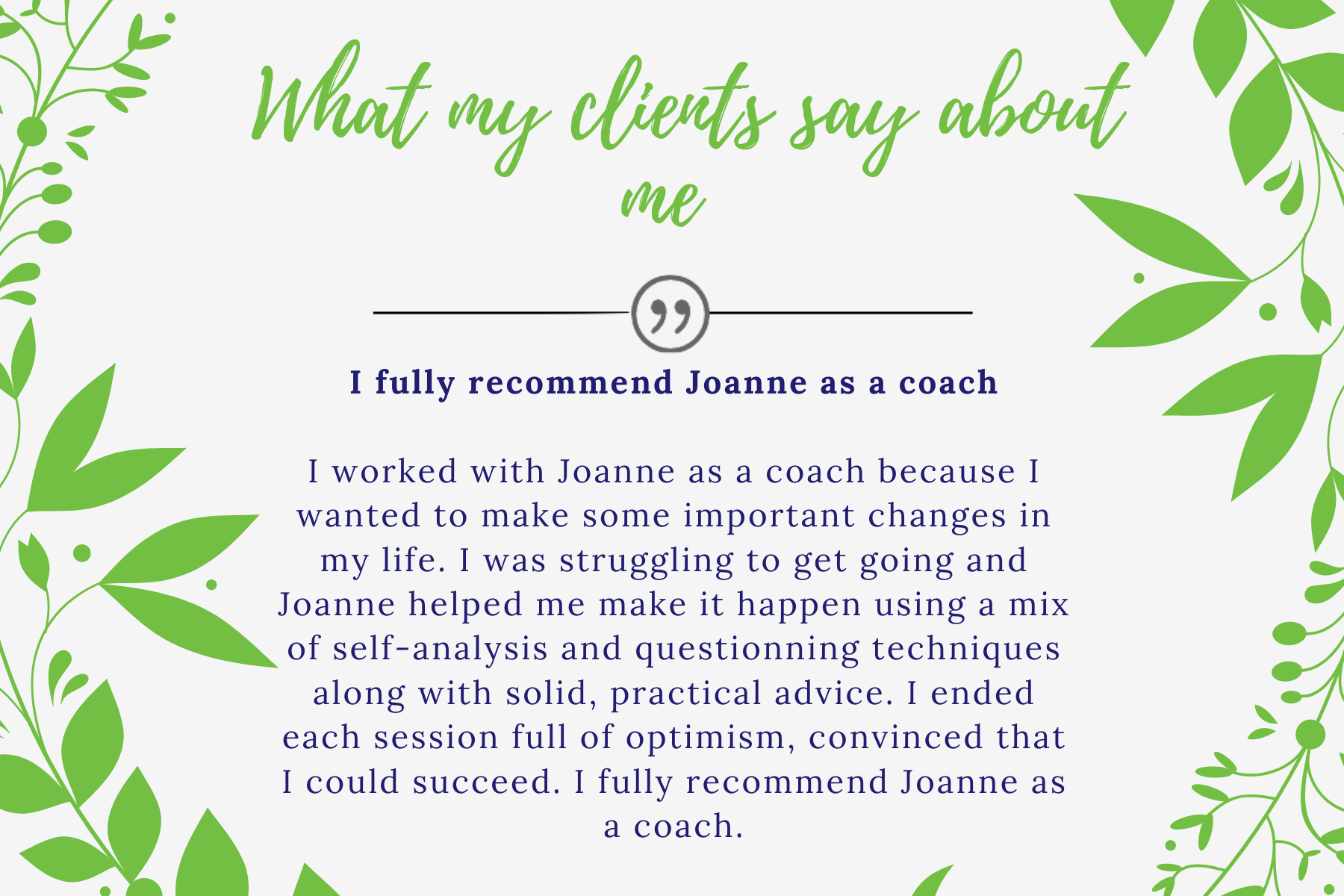 testimony whats clients say...